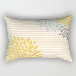 Floral Prints and Colorful Stripes, Yellow, Gray, Aqua, Colour Prints Rectangular Pillow