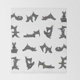 scottie yoga pose artwork Throw Blanket