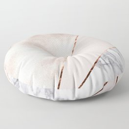 Spliced mixed rose gold marble Floor Pillow