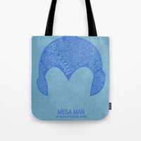 mega man Tote Bags featuring Mega Man Typography by Kody Christian