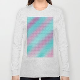 Artistic hand painted pink teal geometrical pattern Long Sleeve T-shirt