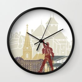 Montreux skyline poster Wall Clock