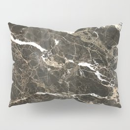 Dark Brown Marble With White Veins Pillow Sham