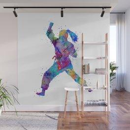 Karate Girl Martial Arts Colorful Watercolor Sports Art Wall Mural