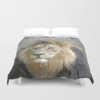 the lion king Duvet Covers featuring Lion King by MehrFarbeimLeben