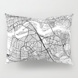 Rotterdam White Map Pillow Sham