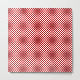 Fiery Red and White Polka Dots Metal Print