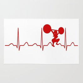 WEIGHTLIFTING WOMAN HEARTBEAT Rug
