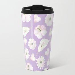 Modern purple lavender pink watercolor white flowers Travel Mug