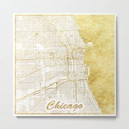 Chicago Map Gold Metal Print