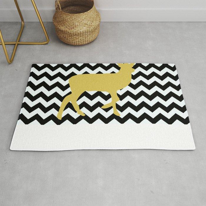 Golden Deer In Black And White Chevron Rug By Haroulita