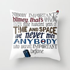 Doctor Who Hand-lettered Illustration Throw Pillow