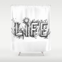 flower of life Shower Curtains featuring LIFE by bonathos