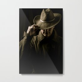 Mysterious Man In Hat And Trench Coat Metal Print