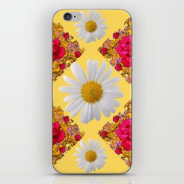 PINK ROSE & WHITE DAISIES YELLOW GARDEN ART iPhone Skin