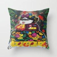 potato Throw Pillows featuring Frida Potato by cristenhoyt