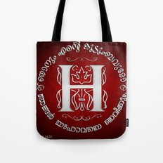 Joshua 24:15 - (Silver on Red) Monogram H Tote Bag
