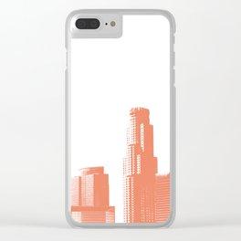 Orange Los Angeles skyline Clear iPhone Case