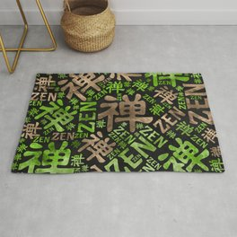 Zen Symbol and word pattern gold and green Rug