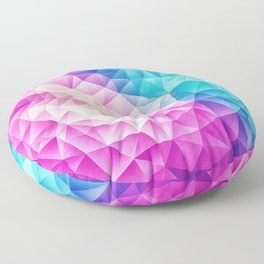 Pink - Ice Blue / Abstract Polygon Crystal Cubism Low Poly Triangle Design Floor Pillow