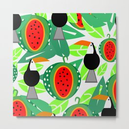 Toucans and watermelons Metal Print