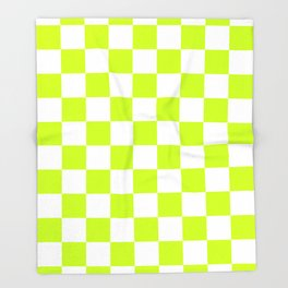 Checkered - White and Fluorescent Yellow Throw Blanket