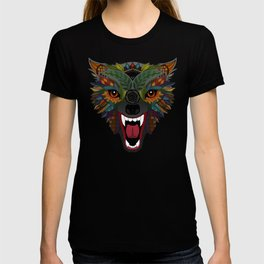 wolf fight flight ochre T-shirt