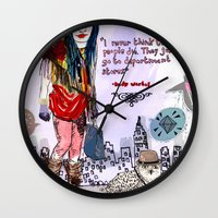saga Wall Clocks featuring Department Store Saga by Olive Primo Design + Illustration