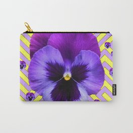 PURPLE PANSY  FLOWERS & YELLOW PATTERNS  GARDEN Carry-All Pouch