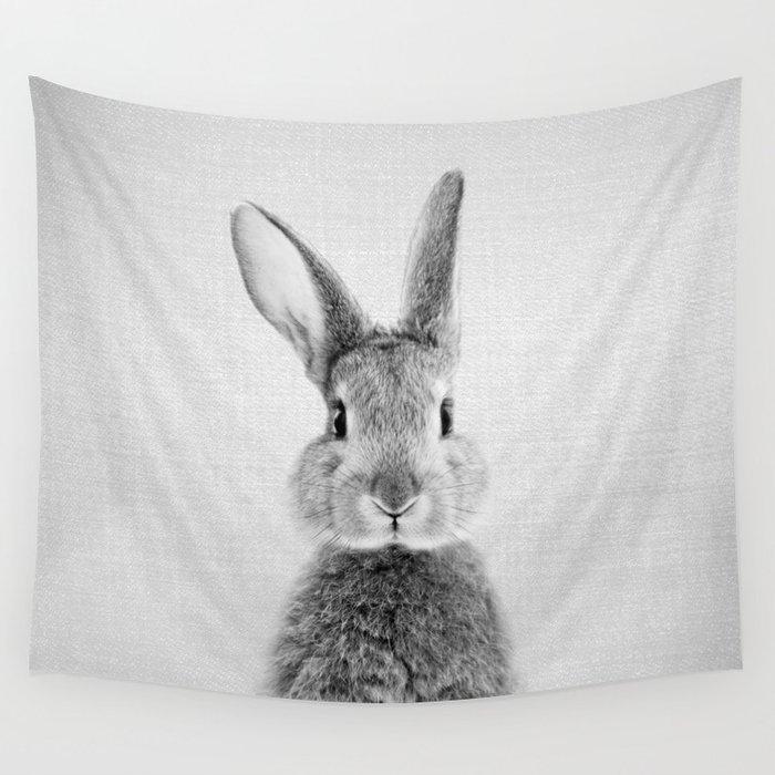 Rabbit - Black & White Wall Tapestry