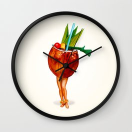 Tiki Cocktail Pin-up - Coconut Wall Clock