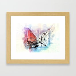 Watercolor River Front Village Town Framed Art Print