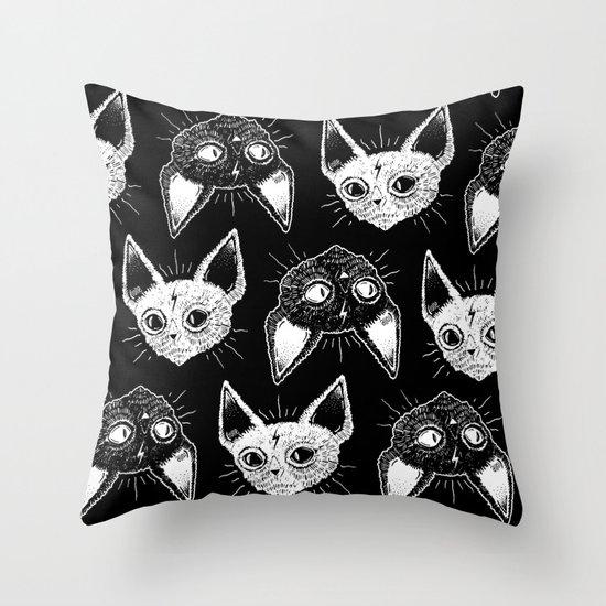 Kittens (Black Version) Throw Pillow
