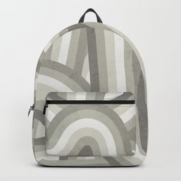 Retro Beige/Greige Stripe Pattern Backpack