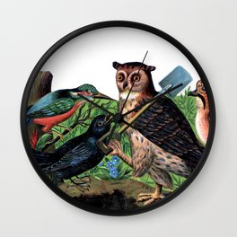 Vintage Owl with Shovel Wall Clock