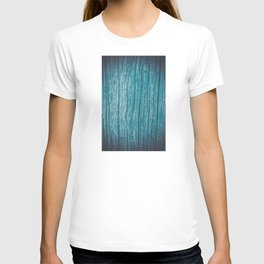 Old piece of wood painted blue and worn by the passage of time T-shirt