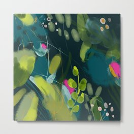 abstract jungle fever leaves in floral green Metal Print