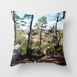 Climbing Up Sparrowhawk Mountain above the Illinois River, No. 1 of 8 Throw Pillow