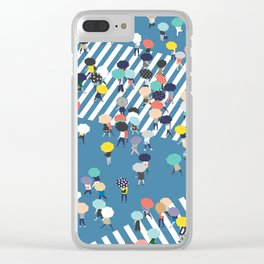 Crossing The Street On a Rainy Day - Blue Clear iPhone Case