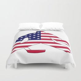 American Flag Goalie Duvet Cover