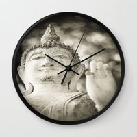 buddhism Wall Clocks featuring Buddha in Sukhothai by Maria Heyens