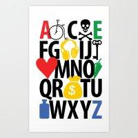 alphabet collection Art Print