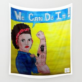 Black Rosie the Riveter Wall Tapestry