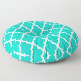 Aqua Moroccan Quatrefoil Pattern Floor Pillow