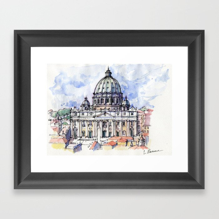 Basilica di S. Pietro a Roma (color version) Framed Art Print