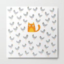 Cat Among The Pigeons Metal Print