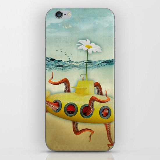 yellow submarine in an octapuses garden iPhone & iPod Skin