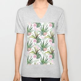 Watercolor pink coral forest green cactus floral Unisex V-Neck