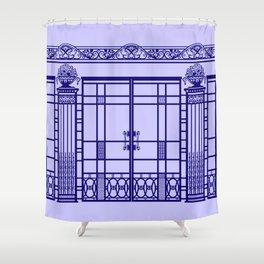 ART DECO, ART NOUVEAU IRONWORK: French Blue Shower Curtain