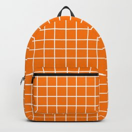 Orange with White Grid Backpack